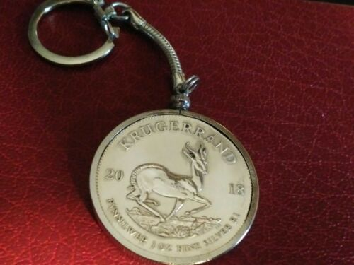 2018 .999 Silver South African Krugerrand 1oz 39mm Quality Locking Keychain!