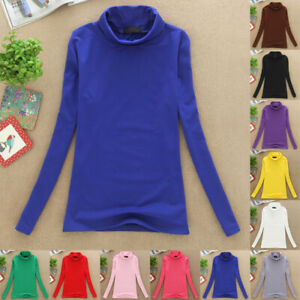Women-039-s-Slim-Stretch-T-Shirt-Tops-Ladies-High-Neck-Bottoming-Stretch-Long-Sleeve