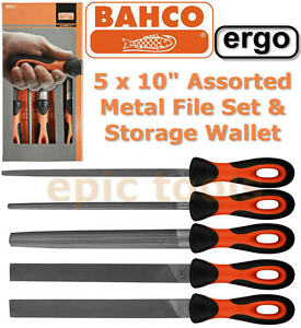 BAHCO-Sandvik-Ergo-5-Piece-Engineers-10-250mm-Metal-File-Set-Wallet-BAH47810