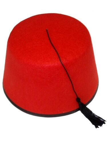 RED FEZ HAT CAP FELT TASSLE TURKISH TOMMY COOPER ADULT FANCY DRESS HALLOWEEN