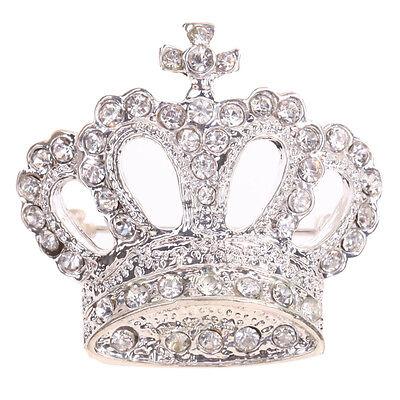 Sweet Silver Brooch Shining Full Crystal Rhinestones Crown Pin Brooches Prom