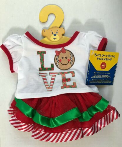 Build A Bear Christmas Gingerbread Love Tutu 2 Piece Skirt Set Outfit ~ NEW!