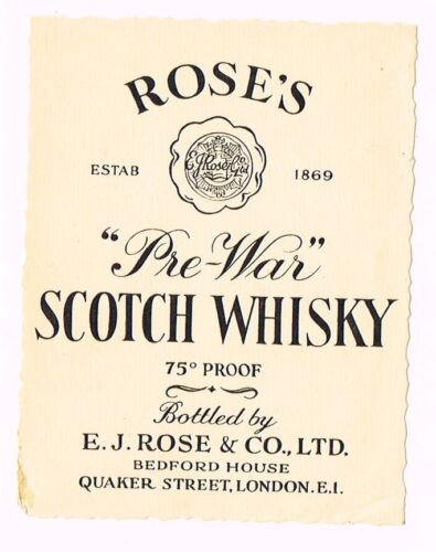1930s England Rose's PreWar Scotch Whisky Label