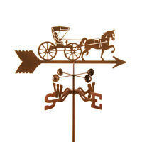 Antique Look Horse & Buggy Weathervane, Doctor Carriage Vane W/ Choice Of Mount