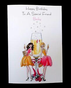 Handmade Personnalisé De Carte D/'Anniversaire-amie fille soeur tout nom