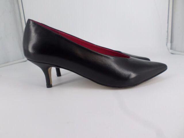 Next SIGNATURE Black Low Kitten Heel Pointed Court Shoes UK 5 EU 38 LG06 23