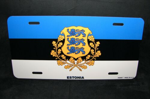 ESTONIA FLAG WITH  COAT OF ARMS METAL LICENSE PLATE TAG FOR CARS     Eesti lipp