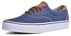 Vans Era 59 Men s C L Navy Blue Canvas Leather Heel Skateborad Shoes ... ba5ca5466