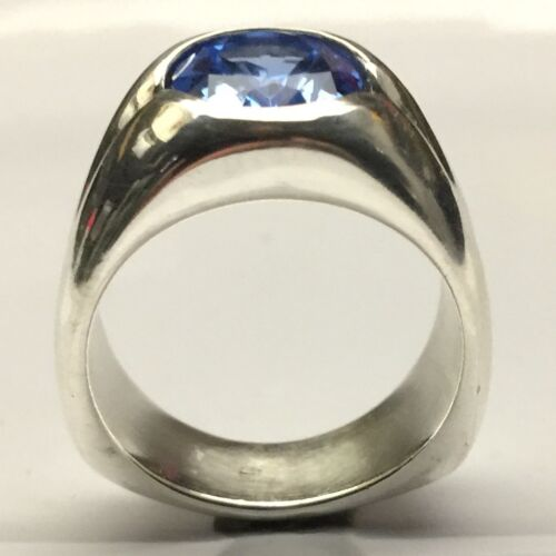 MJG STERLING SILVER MEN/'S RING 12 x 10mm LAB FACETED AQUAMARINE SIZE 9.