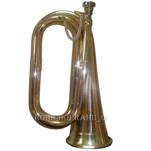 BUGLE ARMY MADE OF PURE BRASS IN BRONZE POLISH POI098