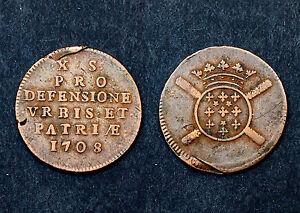 10-Sols-1708-Siege-de-Lille-Flandre-Monnaie-Obsidionale-Louis-XIV-Cuivre