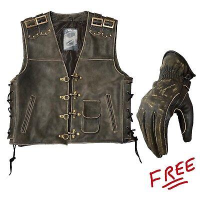 Leather King Men/'s Classic Side Lace Biker Vest SH1315