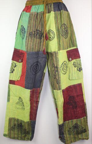 Patchwork UNISEX Cotton Trousers Hippy Boho Yoga Pants Festival Combat Cargo S46
