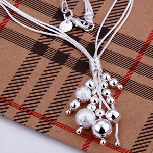 ASAMO-Damen-Halskette-mit-Kugeln-925-Sterling-Silber-plattiert-HA1186
