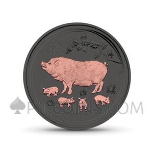AUSTRALIA 2019 1$ LUNAR PIG 1oz ROSAGOLD UND RUTHENIUM