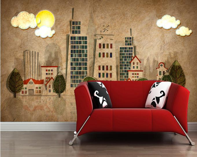 3D Gebäude Wolken Zeichnen 785 Tapete Wandgemälde Tapeten Bild Familie DE Summer