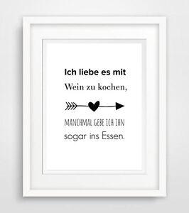 mit wein kochen print druck bild poster deko spruch leben zimmer wohnung ebay. Black Bedroom Furniture Sets. Home Design Ideas
