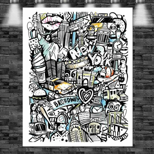 XXL New York Vektor auf Papier 100cmx130cm auf Leinwand Keilrahmen Loft Bild Big