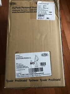 NEW Dupont Tychem SL Protective Coverall Suit w/ Hood - Size Medium White Hazmat