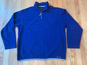 Eddie-Bauer-Mens-Pullover-1-4-Zip-Fleece-Sweatshirt-Blue-Long-Sleeve-Size-Medium