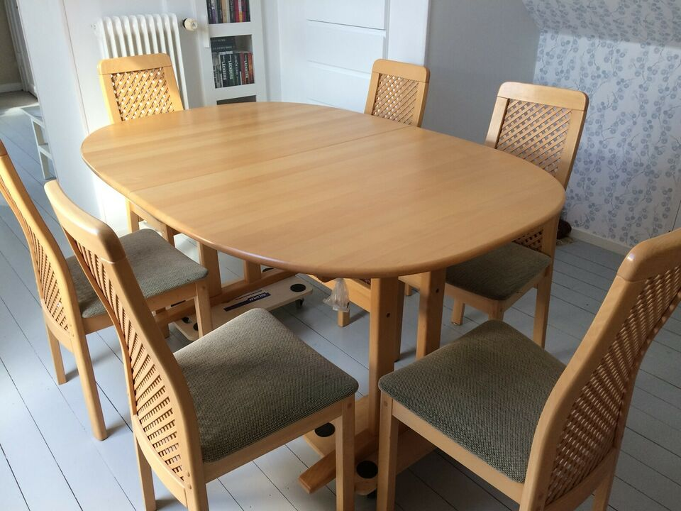 Spisebord m/stole, Massiv lakeret Bøg, Snedkergården