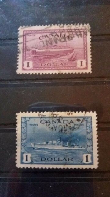 Canada stamps 1942/46 $1 destroyer/ferry!