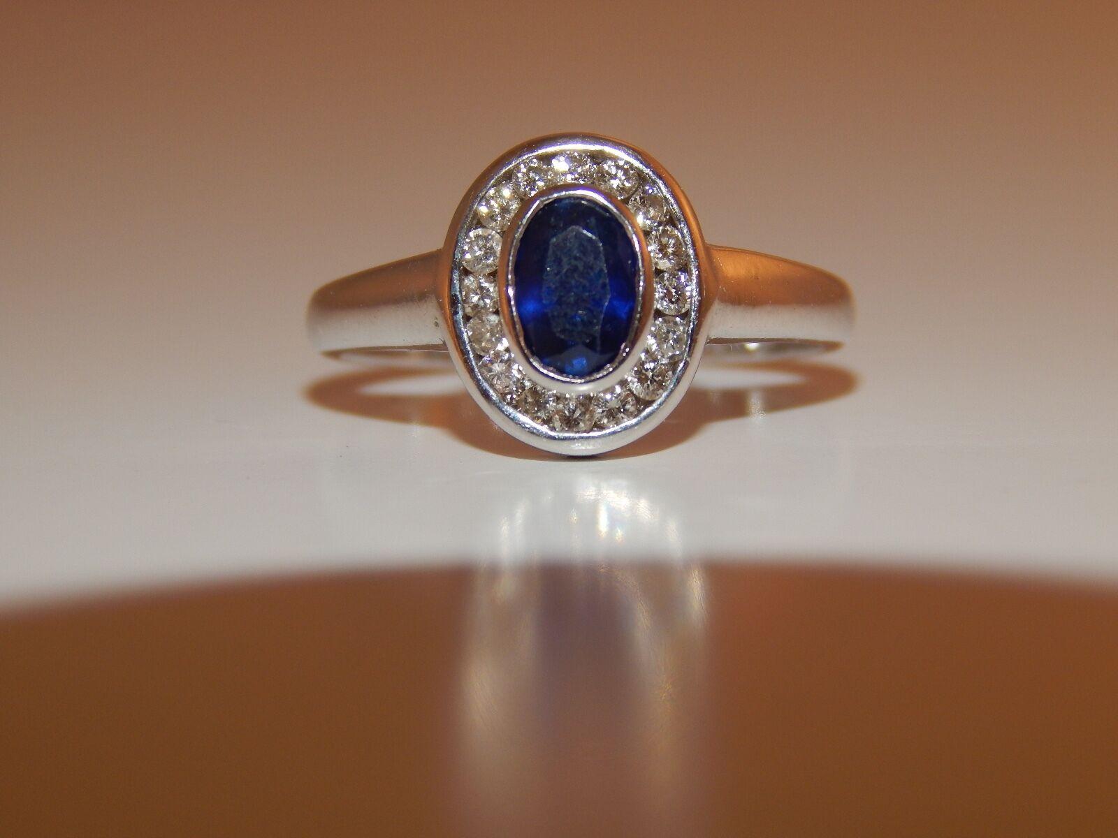 1.07 tcw High End Kashmir Sapphire & Diamond Halo Engagement Ring 14k WG I VS2