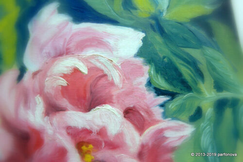 Original Rose Design Fresh Peony Flower oil painting by Parfonova AYA unique 12/""
