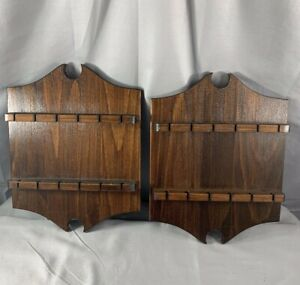 Wood-Collectible-Souvenir-Spoon-Holder-Wall-Display-Set-of-2-Rack-Collector
