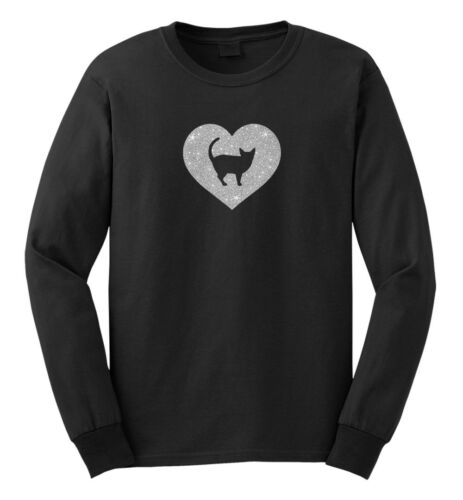 Heart Cat T shirt Female Glitter Men Siamese Kids Women Ladies Silhouette Youth ftSpx4