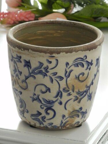 S romantischer Blumentopf Topf Vase Übertopf Blau Shabby Chic Landhaus Toile de