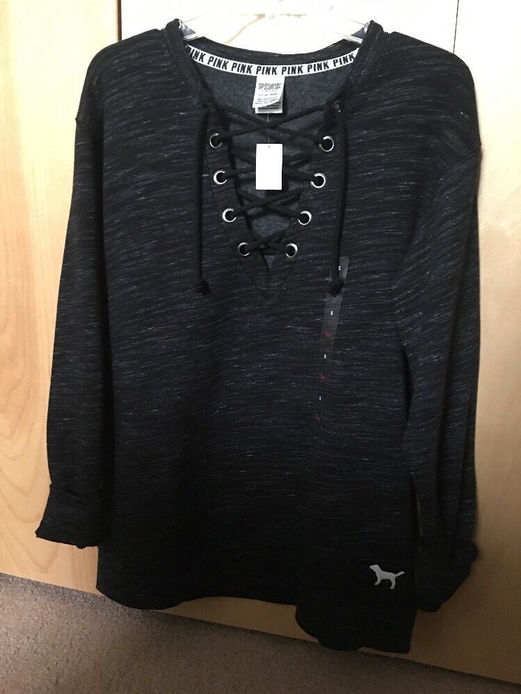 622f8df594f NWT Victoria s Secret Pink Collection Lace Up Campus Crew Sweater lace-up S