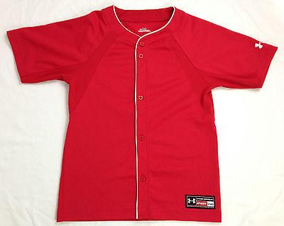 Under Armour Baseball Jersey Youth M Medium Sports Short Sleeve Red Polyester UA