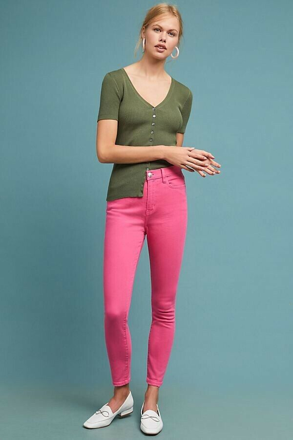 NWT Anthropologie Current Elliott Pink The Ultra High Waisted Skinny Jeans 27