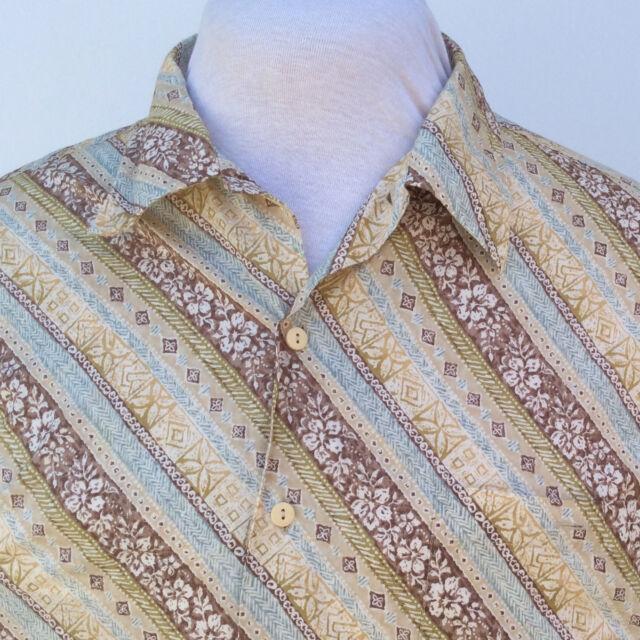 Burma Bibas Hawaiian Aloha Shirt XL Tapa Cotton Lawn Beige Brown Blue Floral