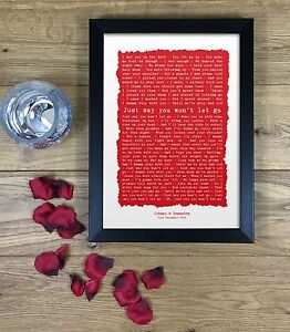 First Dance Song Anniversary Romantic Gift Poem Wedding Vows FRAMED PRINT