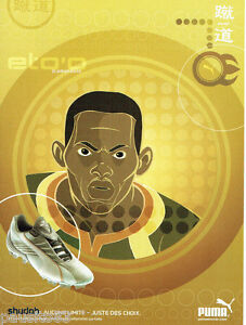 PUBLICITE ADVERTISING 125  2002  PUMA  chaussures foot shudoh  ETO'O Cameroun