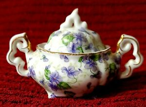 Vintage-Miniature-Lefton-China-Chintz-Hand-Painted-Sugar-Bowl-with-Lid