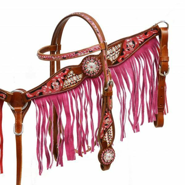 WESTERN HORSE PINK BLING  BRIDLE BREAST COLLAR PLATE SET W  PINK LEATHER FRINGE
