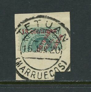 B358-Sp-Morocco-1920-SURCHARGED-15on30-half-stamp-with-Tetuan-cancel-on-piece