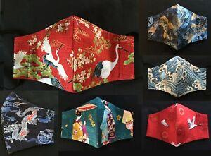 Handmade Fitted Face Mask Filter Pocket & Nose Bridge 100% Cotton Japanese Art