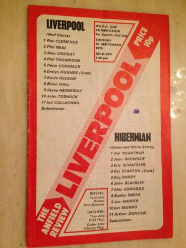 1975/76 UEFA CUP: LIVERPOOL v HIBERNIAN - 1st Round 2nd Leg 30th Sept. 1975