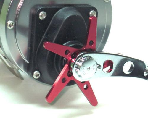 Anodized T6061 Aluminum star drag wheel PENN 113H 970 320 4//0 PRO GEAR 10-349