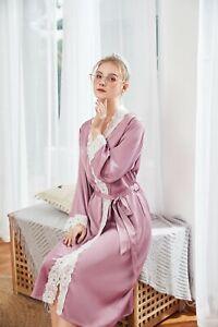 Détails sur De Luxe Femmes Dentelle Vintage Soyeux Long Violet Peignoir  Robe de Chambre