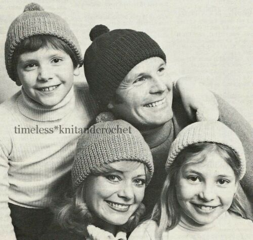 Vintage Knitting Pattern For Family Bobble Hats Hat 4 Sizes