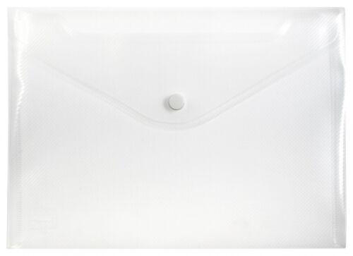 10x Dokumententaschen Umschläge Druckknopf A5 quer farblos transparent