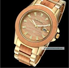 Bewell Gold Maple Wood Wooden Ladie's Watch