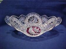 """Hofbauer Crystal RUBY RED BIRD BYRDES COLLECTION 13 3/4"""" OVAL HANDLED BOWL"""