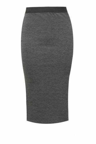 WOMEN PLAIN OFFICE STRETCH BODY CON MIDI PENCIL SKIRT SIZE UK 8-22