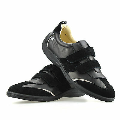 Ladies Womens Leather Flat Pumps Plimsolls Trainers Casual Walking Shoes Size